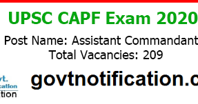 UPSC CAPF AC Recruitment 2020 Apply Online (209 Vacancies)